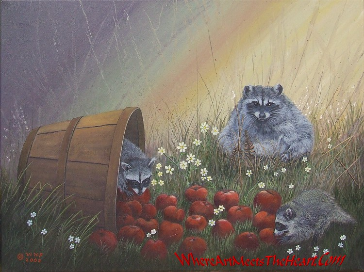 Painting of Apple Bandits, by Violet M Huntley-Franck